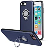 iPhone 7 Plusケース、ICONFLANGによる360度回転リンググリップケース、iPhone 7 Plusデュアルレイヤー耐衝撃性保護iPhone 7+ケース、磁気ブラケットに適用されます (Dark Blue)