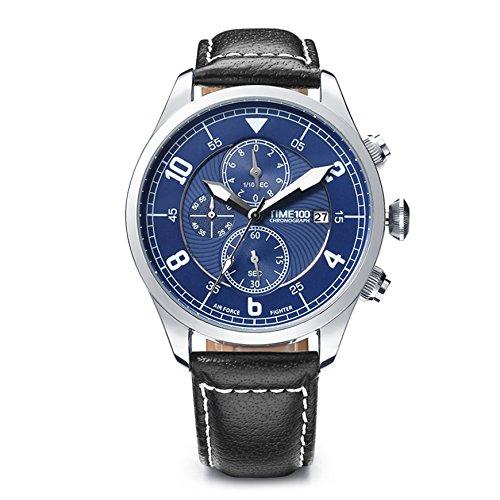 Time100 腕時計 メンズ 多機能 レーシング ストップウォッチ 日付 夜光インデックス W80092G (ブルー)