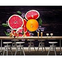Weaeo グレープフルーツアイスフードPhotoリビングルームのキッチンレストランのバーカフェの飲料屋の3D壁紙の壁画-450X300CM