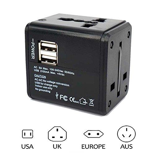 J & L 海外旅行用 変換プラグ(A・O・BF・C) 旅行充電器 2USBポート付 USB充電器 スマホ充電 急速充電 100-240V 世界中150ケ以上の国通用(ヨーロッパ、アメリカ、アジア、オーストラリア等)