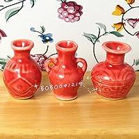 Bobominiworld 3ピース 磁器レッドジャー 花瓶 ドールハウス ミニチュア 装飾 1:12スケール 高さ2.6cm レッド