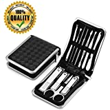 Portable Nail Clippers Set,11 in 1 Stainless Steel Manicure Set Toenail Clippers, Portable Clippers Nail, Tweezers & Nail File Kit in Travel Case Nail File Nail Clippers Cutter for Men/Women/baby with Leather Case By Shileded(Silver)