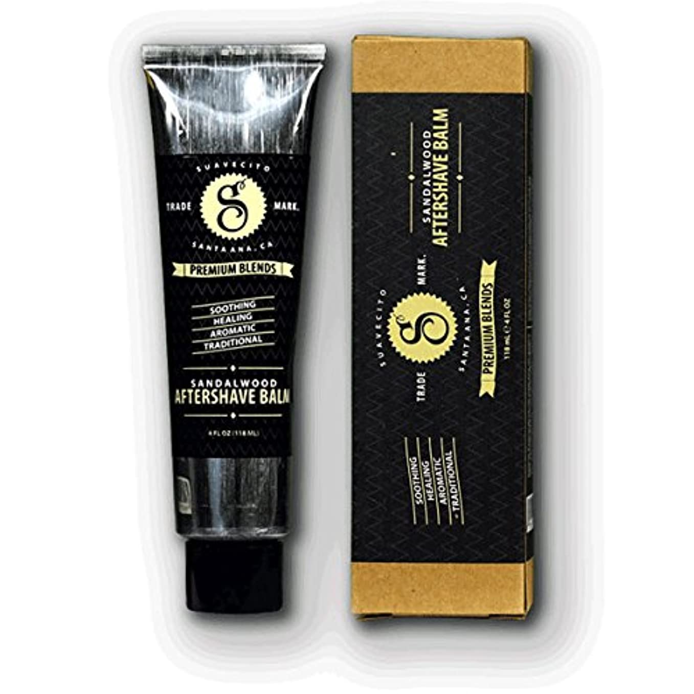 スワップ幾何学運賃SUAVECITO スアベシート 【Premium Blends Sandalwood Aftershave Balm 4oz】 シェービングクリーム 4OZ(約110G)