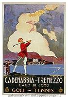 """ビンテージ旅行イタリアReproduction Gicleeポスター"""" cadenabbia-tremezzo–Lago di Como。」 9x13"""