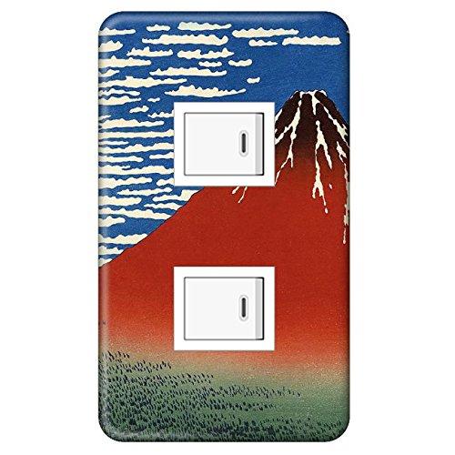 スイッチプレート カバー 浮世絵 葛飾北斎 赤富士 2つ穴