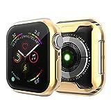 Sakula Apple Watch 対応 ケース TPU メッキ加工 耐衝撃性 超薄 フルカバー Apple Watch Series 4 44mm 対応 カバー ゴールド