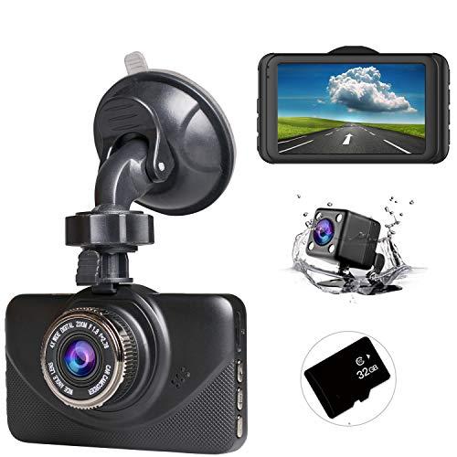 ドライブレコーダー 前後カメラ [2019最新版 32GB SDカード付き ] 1080PフルHD 1800万画素 3インチ 170°広視野角 SONYセンサー/レンズ 常時録画 G-sensor( WDR)