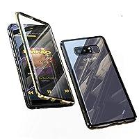 Jonwelsy 携帯電話 ケース Samsung Galaxy Note 8 に適し 360度 前面と背面 強化ガラス 磁気吸着 金属フレーム カバー 完全保護 耐衝撃 擦り傷防止 磁性技術 (金/黒)