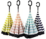 傘 レディース メンズ おしゃれ 長傘 日傘 逆さ傘 C型 逆転 耐風 晴雨兼用 UVカット 遮光 (ピンク)