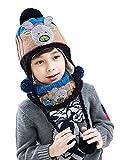 (ビグッド)Bigood 可愛い キッズ ニット帽・スヌード セット 女の子 男の子 ニットキャップ 子供 帽子 暖かい 通学 通園 クリスマス(ネイビーS)