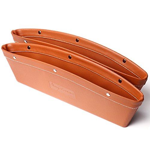 (ムジナ) mujina 車用小物入れ 隙間 収納 便利 高級感のあるレザー仕様 2個セット 3色 (ライトブラウン)