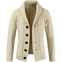 Macondoo Men Button Down Sweater Shawl Collar Cable Knitted Cardigan