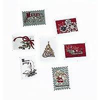 Souarts クリスマス 木製 ボタン 裁縫用品 DIY素材 クリスマスデコレーション アクセサリーパーツ?人形服?子供服ボタン ランダムカラー 切手型 2穴 30個セット