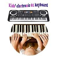 61キーポータブル電子キーボードピアノオルガンティーチングアプリの歌と録音機能のマイク、8パーカッション16音、ミュージカル教育クリスマスおもちゃギフト子供初心者のための