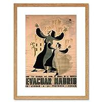 War Spanish Civil Anti Fascist Evacuate Madrid Spain Framed Wall Art Print
