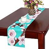 GGSXD テーブルランナー 満開梅の花 クロス 食卓カバー 麻綿製 欧米 おしゃれ 16 Inch X 72 Inch (40cm X 182cm) キッチン ダイニング ホーム デコレーション モダン リビング 洗える