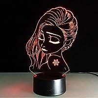 女の子ライト子供の常夜灯ビジュアルLEDデスクライトイリュージョンムードランプ7色3D LED照明ナイトライトテーブルランプ、7色タッチ