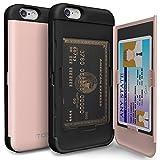 iPhone6s ケース「iPhone6 ケース」手帳型「人気」耐衝撃「カードホルダー」suica「衝撃吸収」ミラー「TPUxプラスチック」スタンド「アイフォン6sケース」アイフォン6ケース「スマホケース」おしゃれ- 赤いゴールド「TORU」