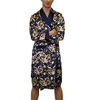 Lu's Chic Men's Satin Kimono Robe Silk Bathrobe Loungewear Spa Long Sleeve Pockets Sleepwear