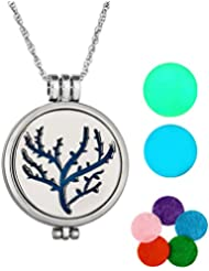 MJARTORIA Tree of Lifeグローin theダークAromatherapy Essential Oil Diffuserロケットペンダントネックレス