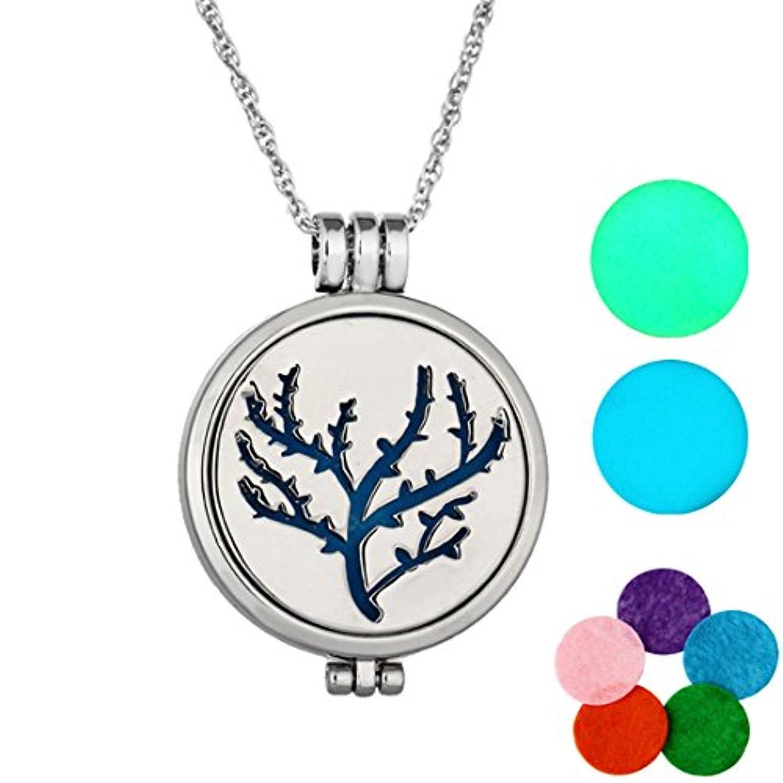 繁雑ライブ長方形MJARTORIA Tree of Lifeグローin theダークAromatherapy Essential Oil Diffuserロケットペンダントネックレス