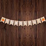 Thankful Burlap Banner Rustic Thanksgiving Wall Banner Fall Bunting Banner for Fireplace or Mantle Thanksgiving Day Pumpkin Decoration Thanksgiving Decor Pre-Strung