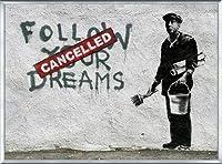 ポスター バンクシー Follow Your Dreams 額装品 アルミ製ベーシックフレーム(シルバー)