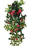 【SCGEHA】フェイクグリーン インテリア イミテーション 人工 観葉植物 壁掛け 癒し 造花 4カラー (2本, チェリーピンク)