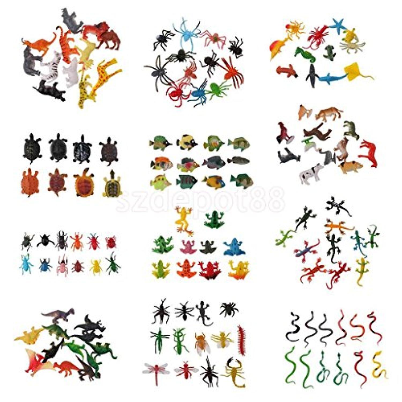 Lot of 138pcsプラスチックOceanファームWild Animals Insects Snakeモデルパーティーおもちゃ