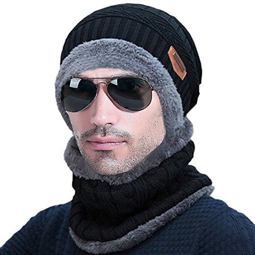 Lalaly ニット帽 ビーニー伸縮性のより厚い 裏起毛 人工フリースライニングある ケーブル編み ボンボン付 ニット帽 ニットワッチ 男女兼用