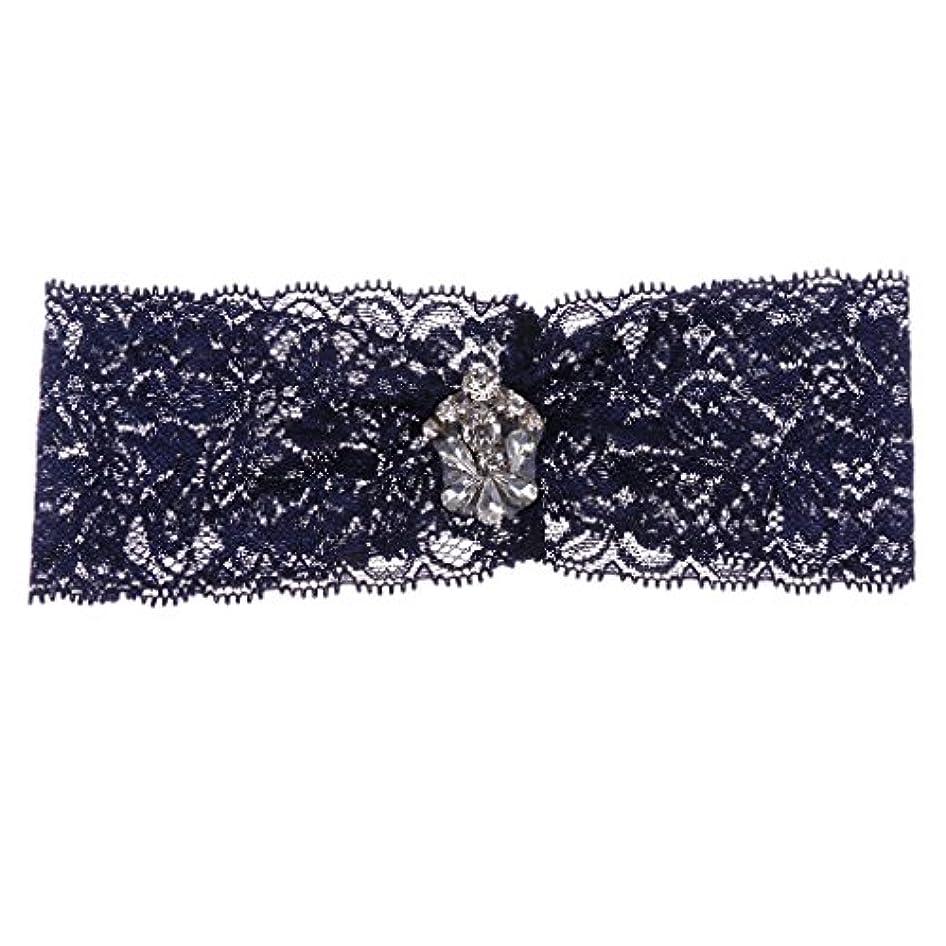 ハント砂スクラッチF Fityle 結婚式の花嫁の付属品のための濃紺のレースのガーターガラスのダイヤモンドの造品の未来の付属品の妻