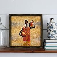 LaModaHome インテリア100% 松の木 フレーム入りウォールアート (13.3インチx13.3インチ) カラフルなアフリカのクラン女性 ピッチャー ブラック すぐに掛けられる 厚さ1.4インチ 家への贈り物に最適