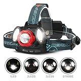 CAMTOA ヘッドライト 5000ルーメン 超高輝度 ヘッドランプ 3 XM-L2 T6 LED 18350充電式電池2個付き ウォールチャージャー充電器付き ハイキング キャンプ 乗馬 釣り 狩猟 アウトドア
