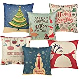 AstiVita Christmas Throw Pillow Cover Set - Pack of 6 - Great Christmas Decoration & Gift