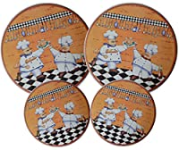 Set 4, Round Stove Top Burner Covers - Chefs Design. #82-154 by GinsonWare
