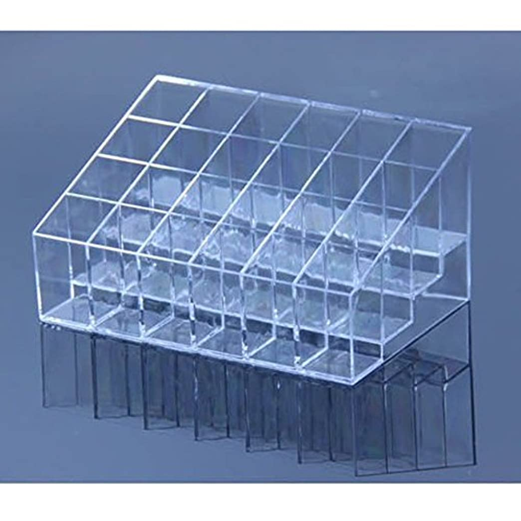 放棄傘隠すAYWS 口紅ホルダー 24区透明プラスチック製 台形メイクアップ 化粧品ディスプレイスタンド リップスティック ホルダー