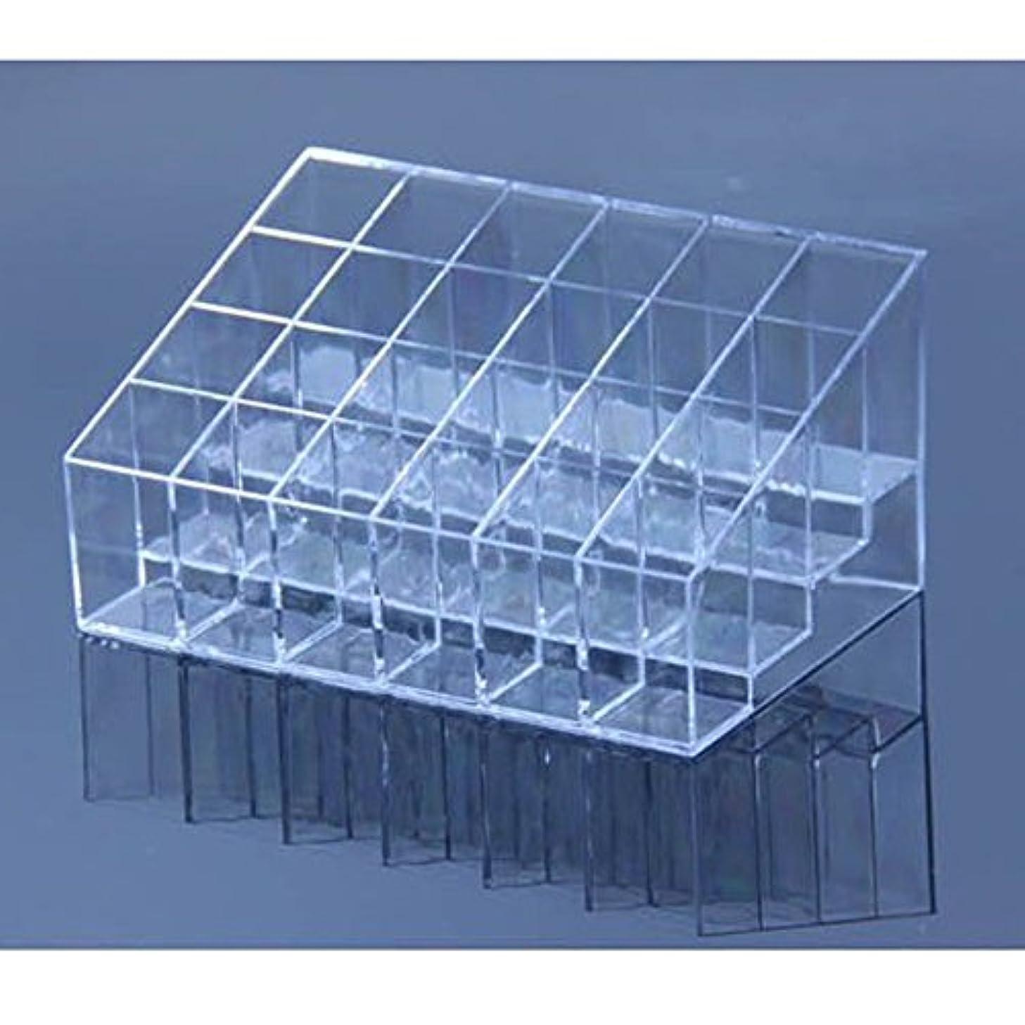 するエッセイ柱AYWS 口紅ホルダー 24区透明プラスチック製 台形メイクアップ 化粧品ディスプレイスタンド リップスティック ホルダー