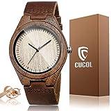 CUCOL メンズ クルミ材 牛革 ベルト 腕時計 木製ケース アナログ クォーツ 腕時計 ギフトボックス付き