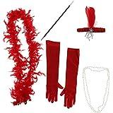 amleso フェザーヘッドバンド ネックレス タバコホルダー ボアスカーフ ファンシードレスセット小道具 全3色 - 赤