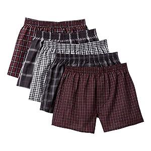 [セシール] パンツ 綿100% 先染めチェックトランクス(柄違い5枚組セット・前開き) AKT-317 BC L