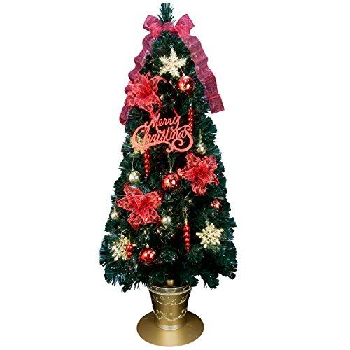 クリスマスツリー ファイバー 分割型 ファイバーツリー セット 150cm レッド&ゴールド LED光源
