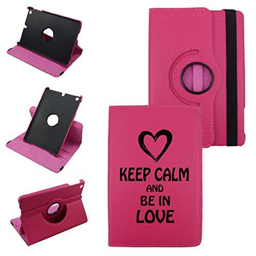 Keep Calm and Be in Love iPad第2世代、第3世代、第4世代カバー合成レザー回転iPadケース(ホットピンク) : 360度マルチアングル垂直と水平スタンドwithストラップ