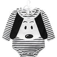 Gonee 幼児ベビーガールズボーイズストライプ長袖ロンパースジャンプスーツかわいい犬のよだれかけ服衣装 (70cm, ブラック)