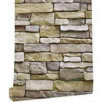 HaokHome 61007 石のレンガの壁のステッカー岩石壁紙防水 かんたん貼付シールタイプ 家の装飾 45cmx6m