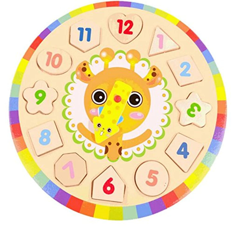 HuaQingPiJu-JP 素敵な教育木製時計玩具アーリーラーニングタイムナンバーシェイプ子供のための色の動物の認知のおもちゃ(鹿)