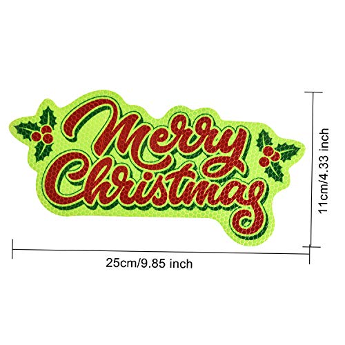 Bright Reflective Christmas Car Magnet Decorations Set, Large Merry Christmas Sign Car Magnet Reflective Decal for Car Fridge Garage Mailbox Vehicle Xmas Holiday Décor(Merry Christmas Sign), 3pack