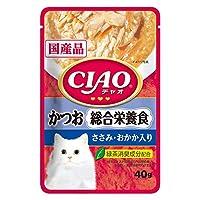 CIAO(チャオ) パウチ 総合栄養食 かつお ささみ おかか入り 40g×16袋【まとめ買い】