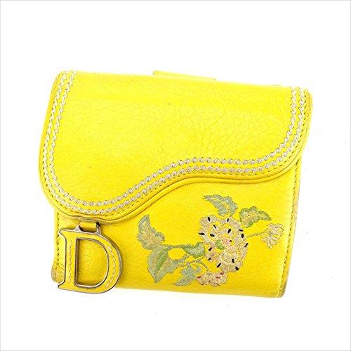 クリスチャンディオール Christian Dior Wホック財布 二つ折り財布 レディース フラワー刺繍 サドル型 中古 A1034