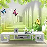 山笑の美 カスタムプリント壁紙リリーバタフライグリーンリーフ現代壁画抽象芸術3D立体空間壁壁画-280X200cm