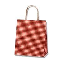ヘイコー 手提 紙袋 25CB 21-12 ギンガム アカ 21x12x25cm 50枚